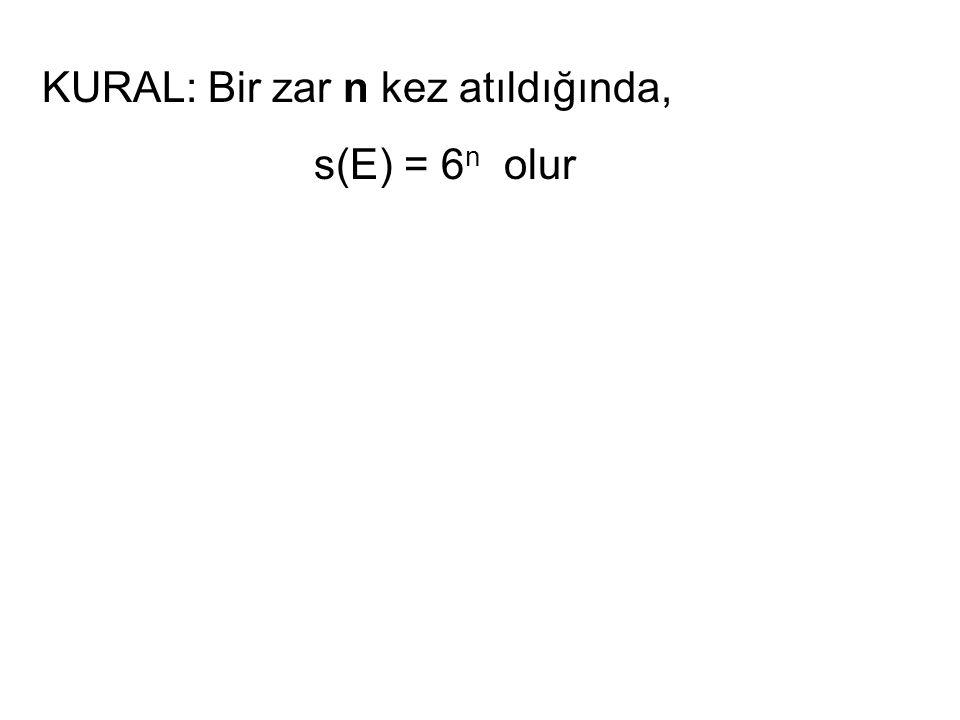 KURAL: Bir zar n kez atıldığında, s(E) = 6 n olur