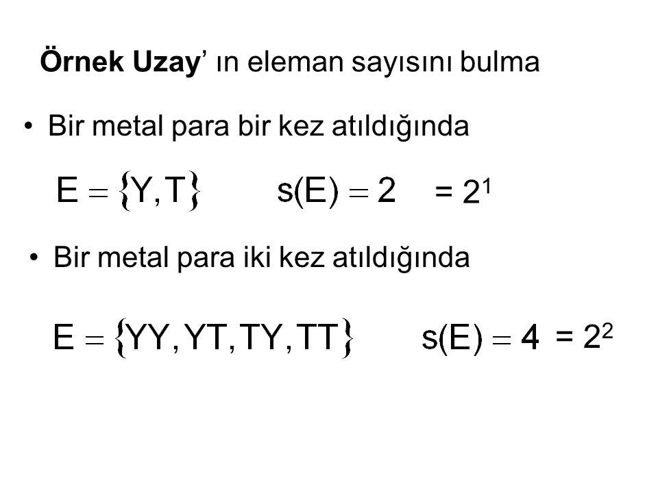 Örnek Uzay' ın eleman sayısını bulma Bir metal para bir kez atıldığında Bir metal para iki kez atıldığında = 2 1 = 2 2
