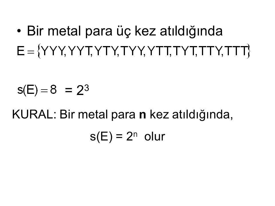 Bir metal para üç kez atıldığında = 2 3 KURAL: Bir metal para n kez atıldığında, s(E) = 2 n olur