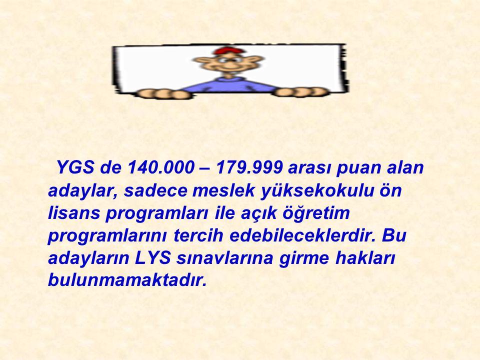 2010-ÖSYS Sunum, İstanbul 29 Ağustos 2009  Birinci  Birinci Aşama (YGS) Taban Puanları ve Sağlayacağı Haklar: 1) Taban puan (140 / 179 arası) Önlisans, Açıköğretim 2) Taban Puan (180 ve üzeri) İlgili Puan Türünden YGS puanlarıyla da öğrenci alan lisans programlarını tercih etme hakkı 3) Taban Puan (180 ve üzeri) Herhangi Bir Puan Türünden İkinci aşama sınavlara katılma hakkı.