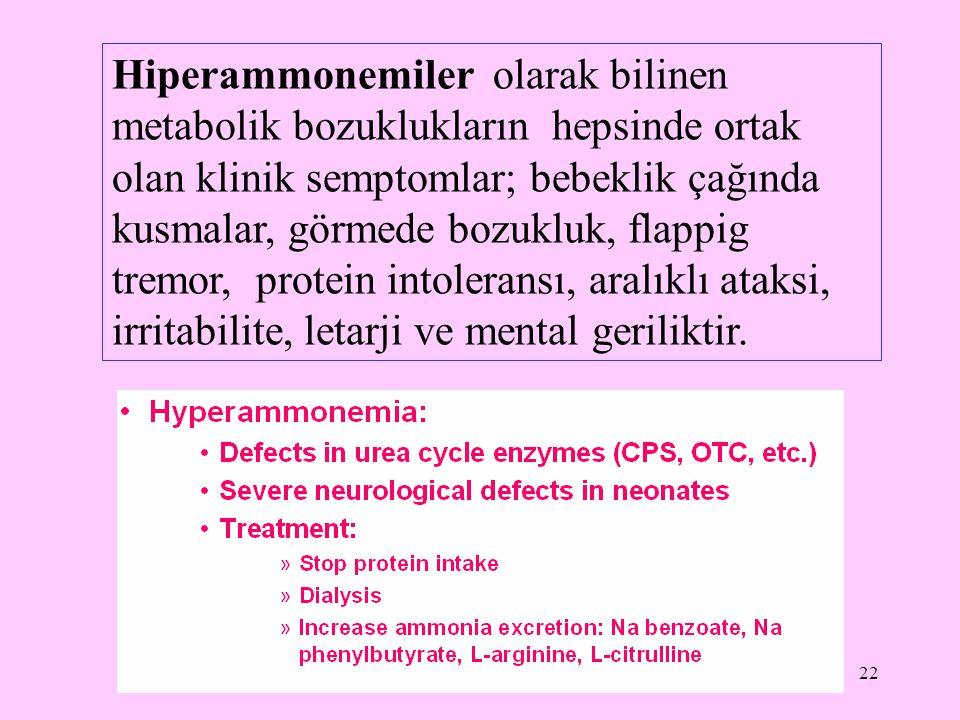 22 Hiperammonemiler olarak bilinen metabolik bozuklukların hepsinde ortak olan klinik semptomlar; bebeklik çağında kusmalar, görmede bozukluk, flappig