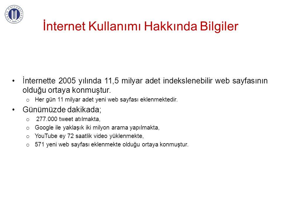 İnternet Kullanımı Hakkında Bilgiler İnternette 2005 yılında 11,5 milyar adet indekslenebilir web sayfasının olduğu ortaya konmuştur. o Her gün 11 mil