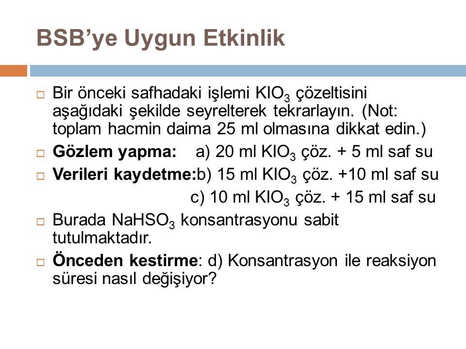 BSB'ye Uygun Etkinlik  Bir önceki safhadaki işlemi KIO 3 çözeltisini aşağıdaki şekilde seyrelterek tekrarlayın. (Not: toplam hacmin daima 25 ml olmas
