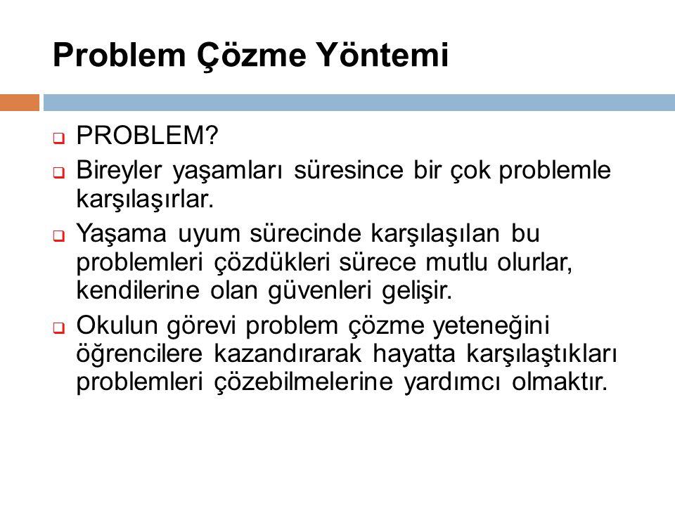 Problem Çözme Yöntemi  PROBLEM?  Bireyler yaşamları süresince bir çok problemle karşılaşırlar.  Yaşama uyum sürecinde karşılaşılan bu problemleri ç