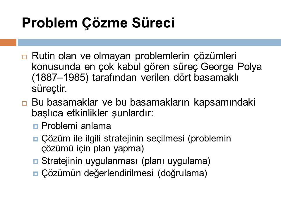 Problem Çözme Süreci  Rutin olan ve olmayan problemlerin çözümleri konusunda en çok kabul gören süreç George Polya (1887–1985) tarafından verilen dör