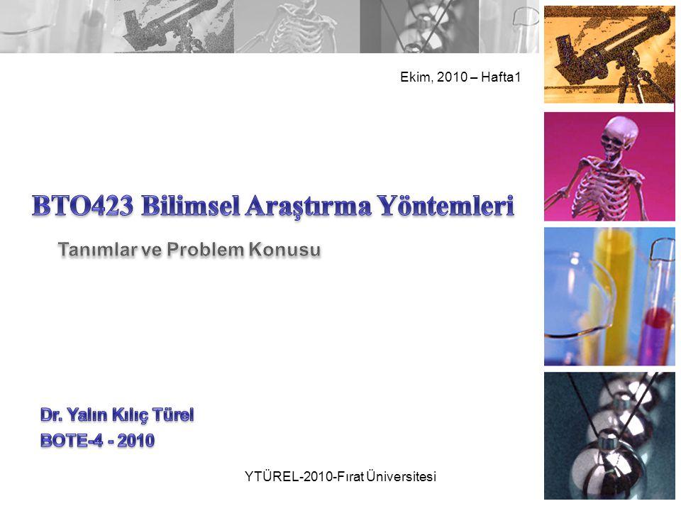 Ekim, 2010 – Hafta1 YTÜREL-2010-Fırat Üniversitesi