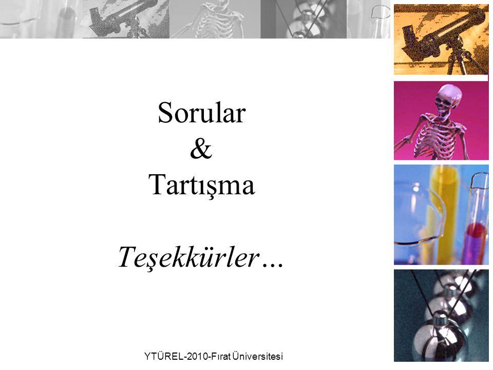 Sorular & Tartışma Teşekkürler… YTÜREL-2010-Fırat Üniversitesi