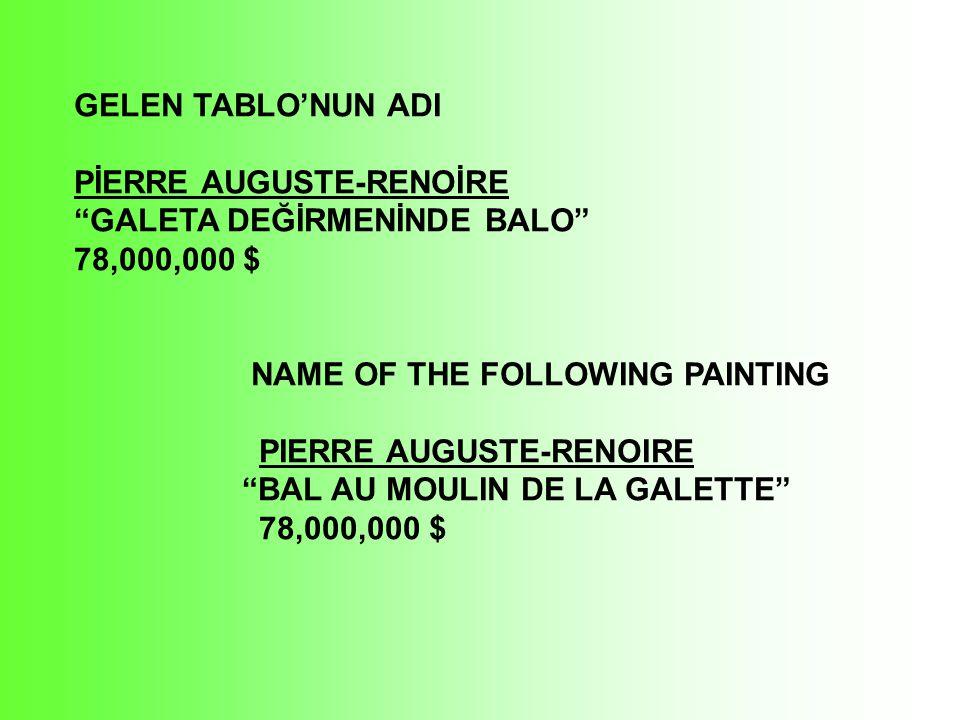 VİNCENT VAN GOGH DR. GACHET'nin PORTRESİ 82,500,000 $ VINCENT VAN GOGH PORTRAIT OF DR.