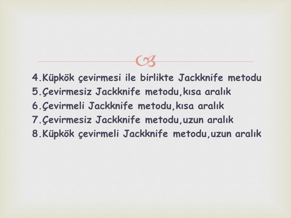  4.Küpkök çevirmesi ile birlikte Jackknife metodu 5.Çevirmesiz Jackknife metodu,kısa aralık 6.Çevirmeli Jackknife metodu,kısa aralık 7.Çevirmesiz Jac