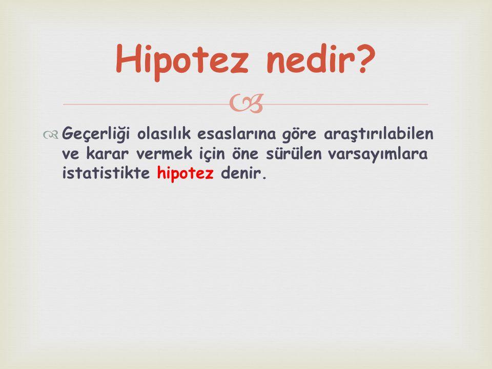   Hipotezlerin örneklem yardımıyla incelenmesine hipotez testi denir. Hipotez testi