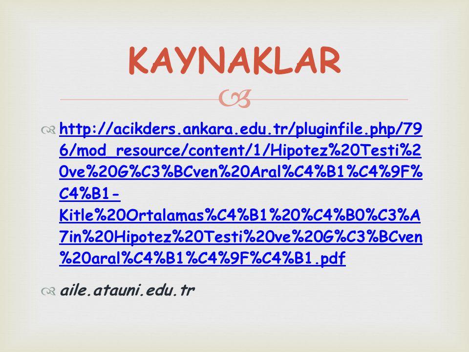   http://acikders.ankara.edu.tr/pluginfile.php/79 6/mod_resource/content/1/Hipotez%20Testi%2 0ve%20G%C3%BCven%20Aral%C4%B1%C4%9F% C4%B1- Kitle%20Ort
