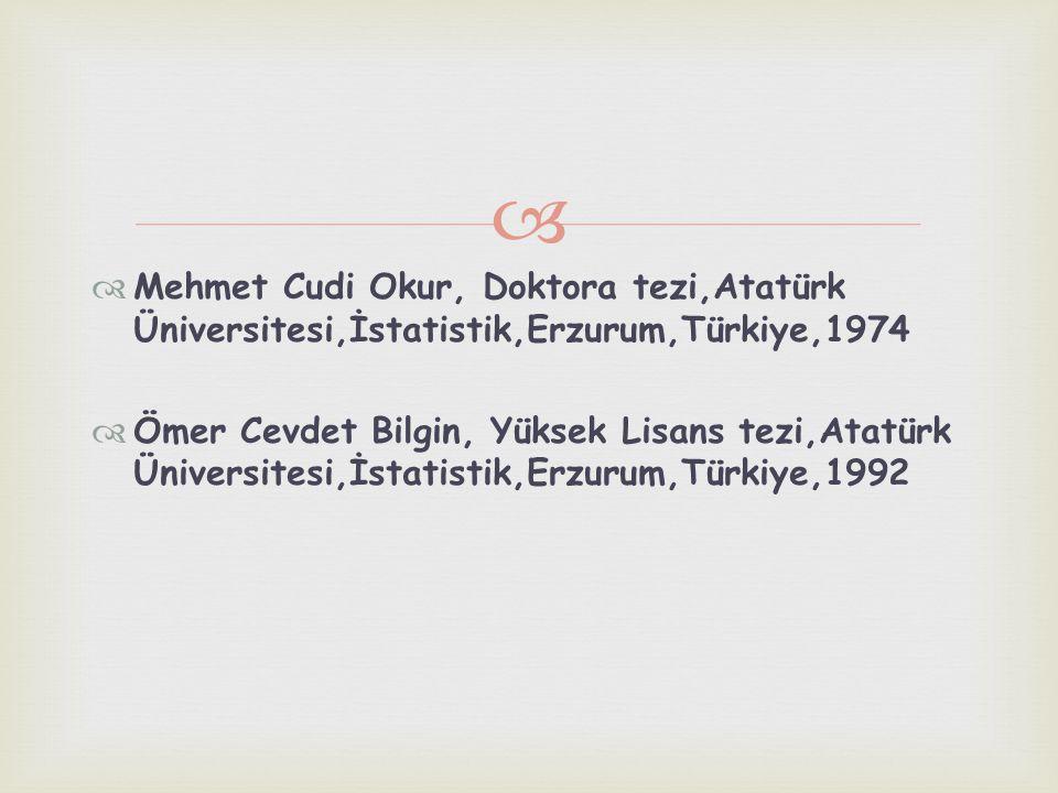   Mehmet Cudi Okur, Doktora tezi,Atatürk Üniversitesi,İstatistik,Erzurum,Türkiye,1974  Ömer Cevdet Bilgin, Yüksek Lisans tezi,Atatürk Üniversitesi,