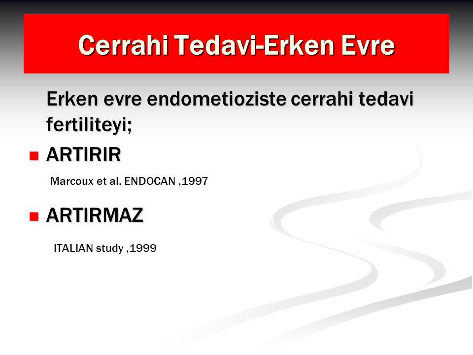 Cerrahi Tedavi-Erken Evre Erken evre endometioziste cerrahi tedavi fertiliteyi; ARTIRIR ARTIRIR ARTIRMAZ ARTIRMAZ Marcoux et al. ENDOCAN,1997 ITALIAN