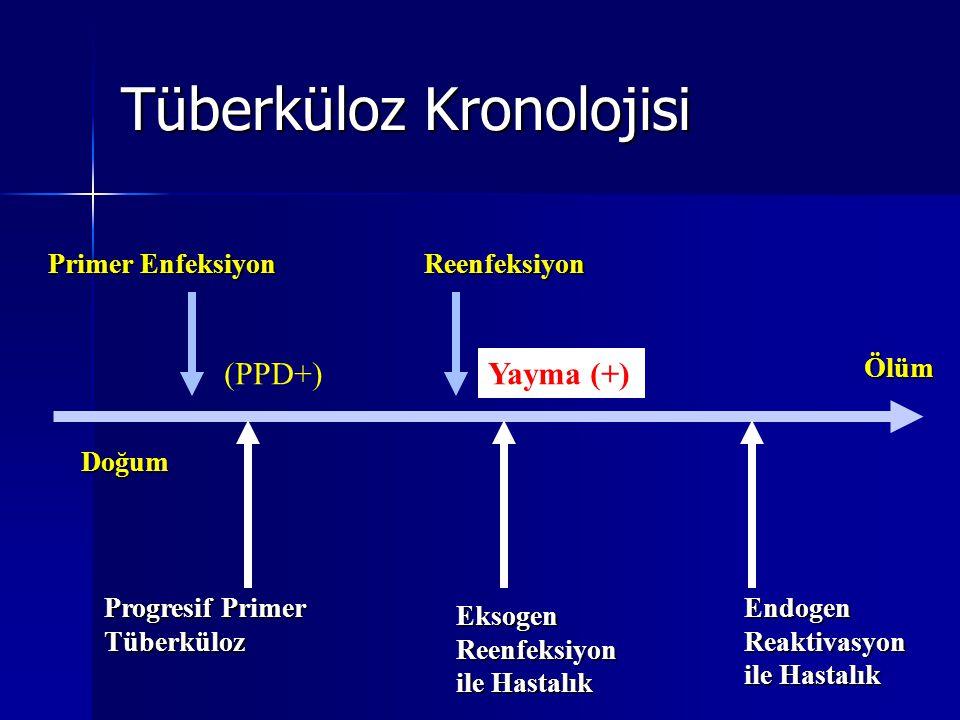 Tüberküloz Kronolojisi Doğum Ölüm Primer Enfeksiyon Progresif Primer Tüberküloz Reenfeksiyon EksogenReenfeksiyon ile Hastalık EndogenReaktivasyon (PPD