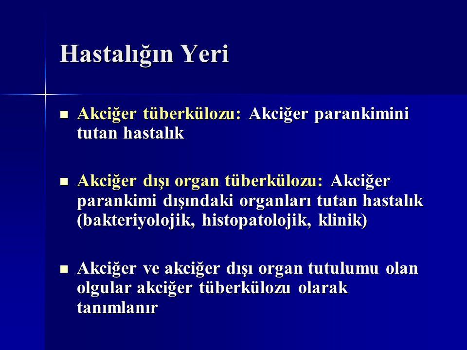 Hastalığın Yeri Akciğer tüberkülozu: Akciğer parankimini tutan hastalık Akciğer tüberkülozu: Akciğer parankimini tutan hastalık Akciğer dışı organ tüb