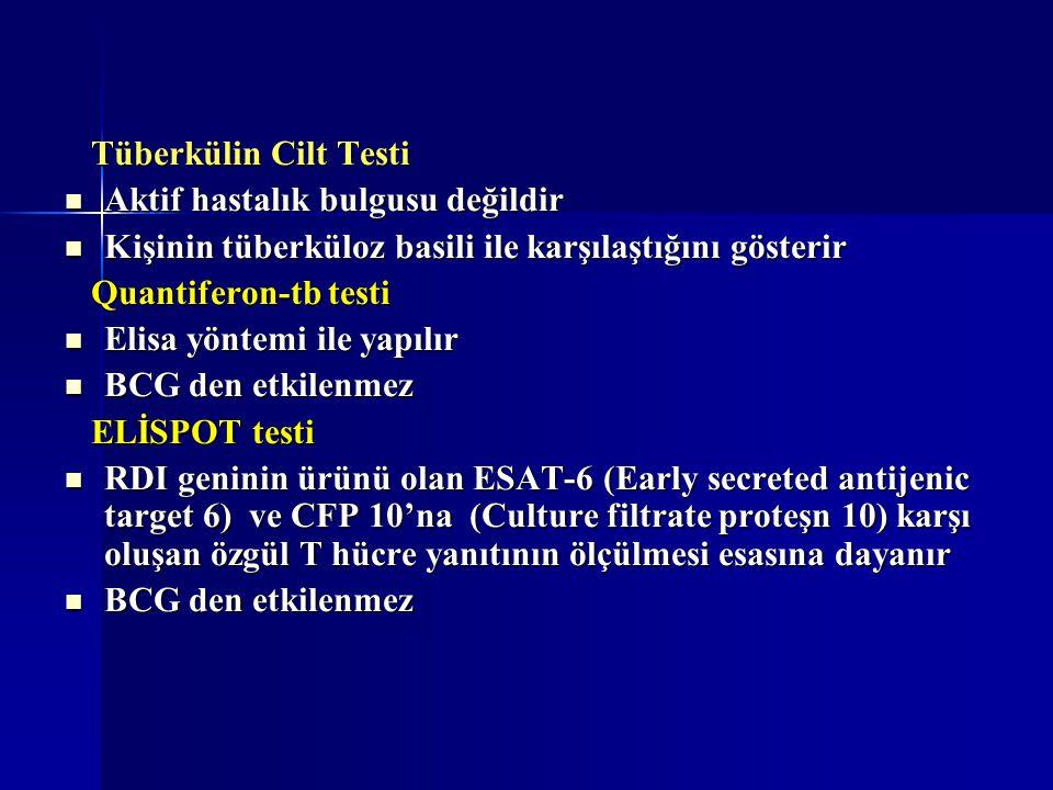 Tüberkülin Cilt Testi Tüberkülin Cilt Testi Aktif hastalık bulgusu değildir Aktif hastalık bulgusu değildir Kişinin tüberküloz basili ile karşılaştığı