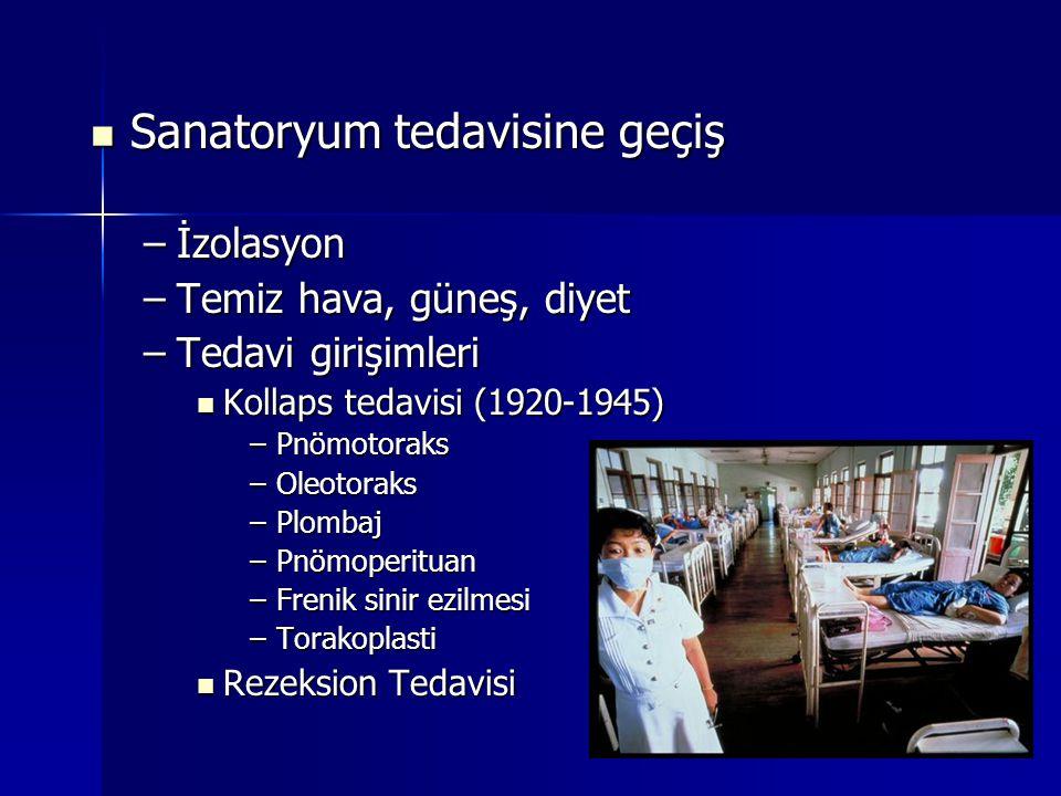 Sanatoryum tedavisine geçiş Sanatoryum tedavisine geçiş –İzolasyon –Temiz hava, güneş, diyet –Tedavi girişimleri Kollaps tedavisi (1920-1945) Kollaps