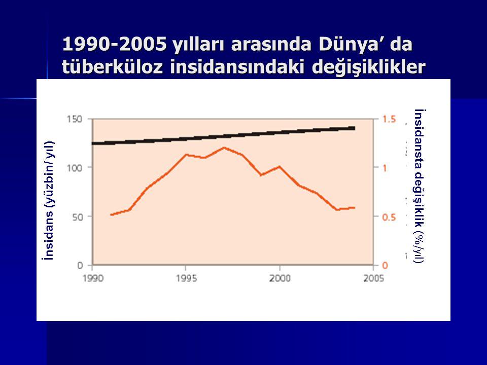 2004 yılında tahmin edilen yeni tüberküloz olguları WHO report 2006: global tuberculosis control; surveillance, planning, financing.