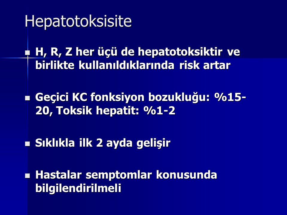 Hepatotoksisite H, R, Z her üçü de hepatotoksiktir ve birlikte kullanıldıklarında risk artar H, R, Z her üçü de hepatotoksiktir ve birlikte kullanıldı