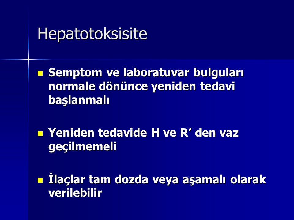 Hepatotoksisite Semptom ve laboratuvar bulguları normale dönünce yeniden tedavi başlanmalı Semptom ve laboratuvar bulguları normale dönünce yeniden te