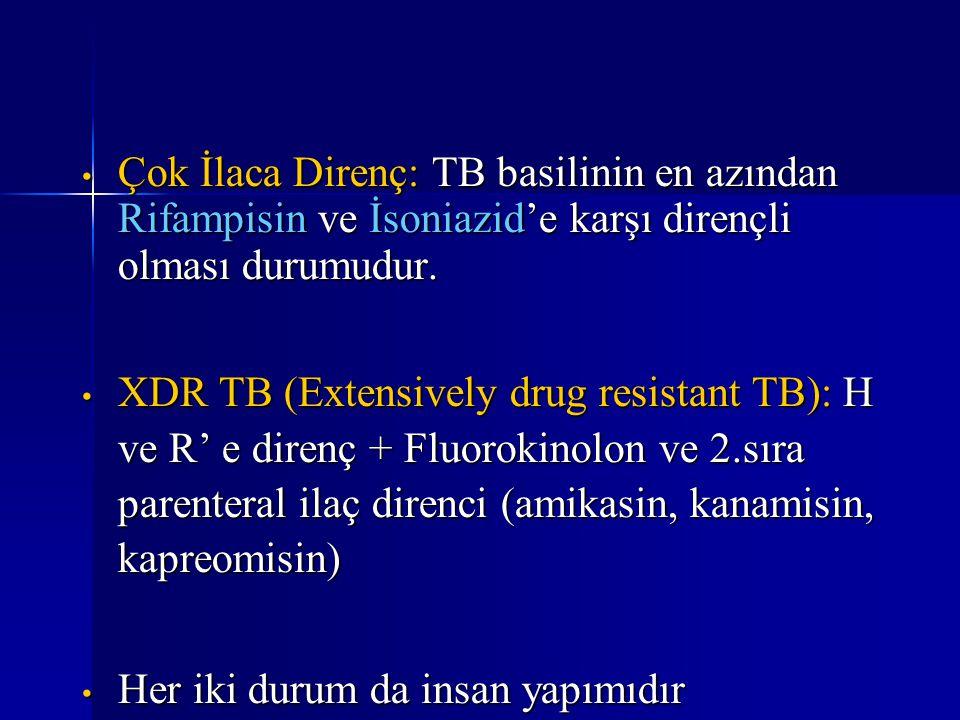 Çok İlaca Direnç: TB basilinin en azından Rifampisin ve İsoniazid'e karşı dirençli olması durumudur. Çok İlaca Direnç: TB basilinin en azından Rifampi