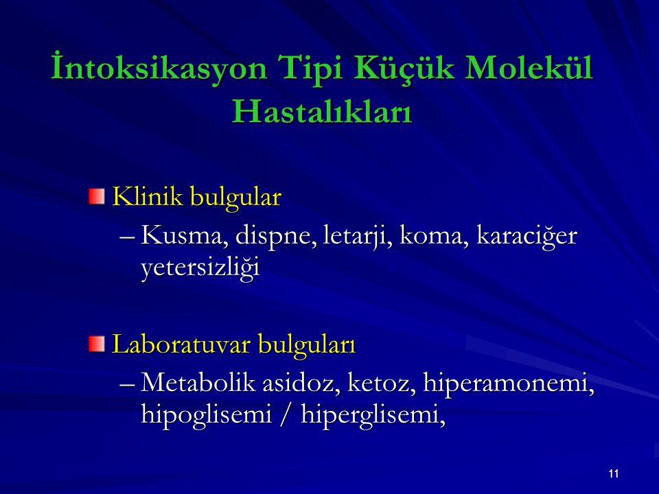 11 İntoksikasyon Tipi Küçük Molekül Hastalıkları Klinik bulgular –Kusma, dispne, letarji, koma, karaciğer yetersizliği Laboratuvar bulguları –Metabolik asidoz, ketoz, hiperamonemi, hipoglisemi / hiperglisemi,