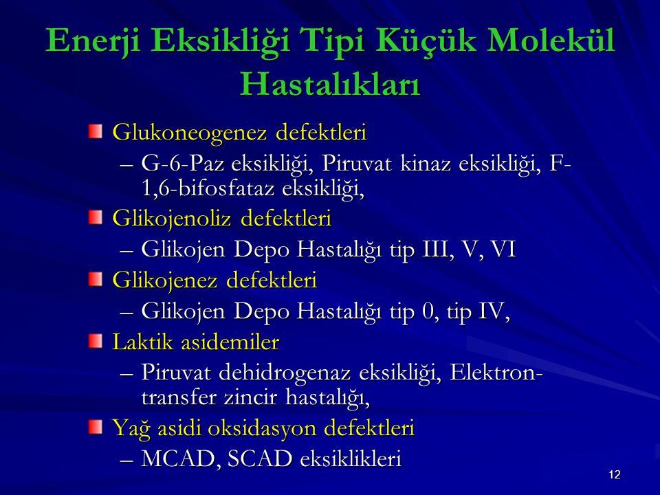 12 Enerji Eksikliği Tipi Küçük Molekül Hastalıkları Glukoneogenez defektleri –G-6-Paz eksikliği, Piruvat kinaz eksikliği, F- 1,6-bifosfataz eksikliği, Glikojenoliz defektleri –Glikojen Depo Hastalığı tip III, V, VI Glikojenez defektleri –Glikojen Depo Hastalığı tip 0, tip IV, Laktik asidemiler –Piruvat dehidrogenaz eksikliği, Elektron- transfer zincir hastalığı, Yağ asidi oksidasyon defektleri –MCAD, SCAD eksiklikleri