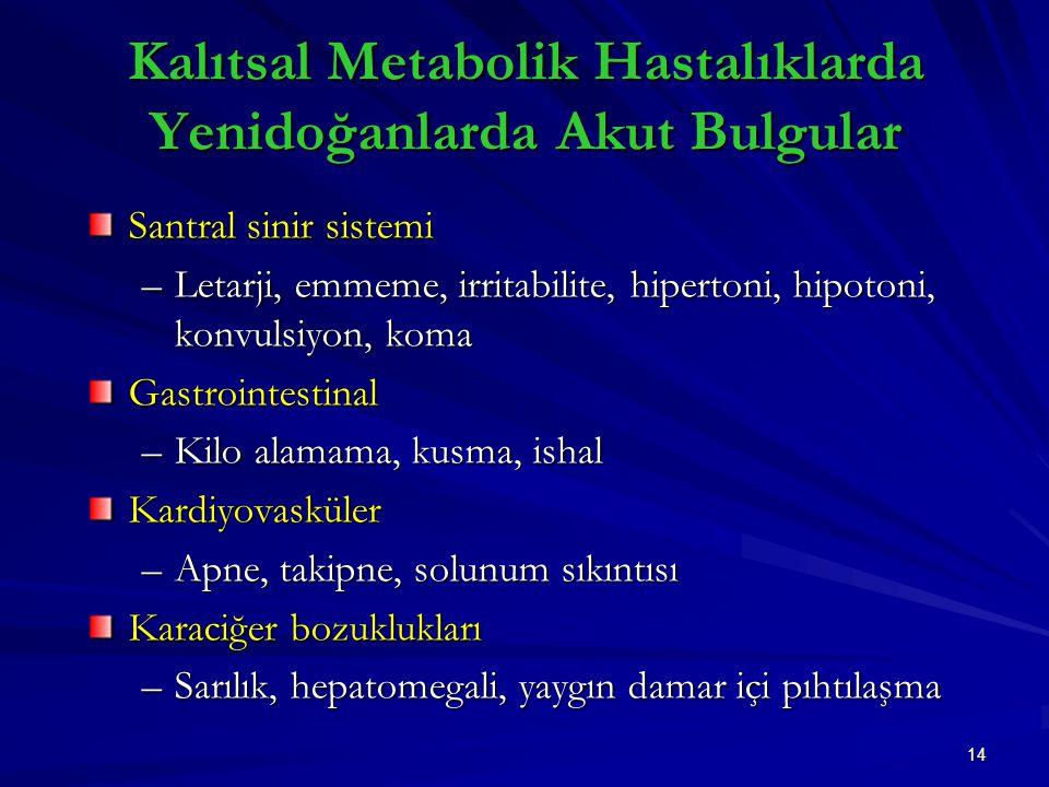 14 Kalıtsal Metabolik Hastalıklarda Yenidoğanlarda Akut Bulgular Santral sinir sistemi –Letarji, emmeme, irritabilite, hipertoni, hipotoni, konvulsiyon, koma Gastrointestinal –Kilo alamama, kusma, ishal Kardiyovasküler –Apne, takipne, solunum sıkıntısı Karaciğer bozuklukları –Sarılık, hepatomegali, yaygın damar içi pıhtılaşma