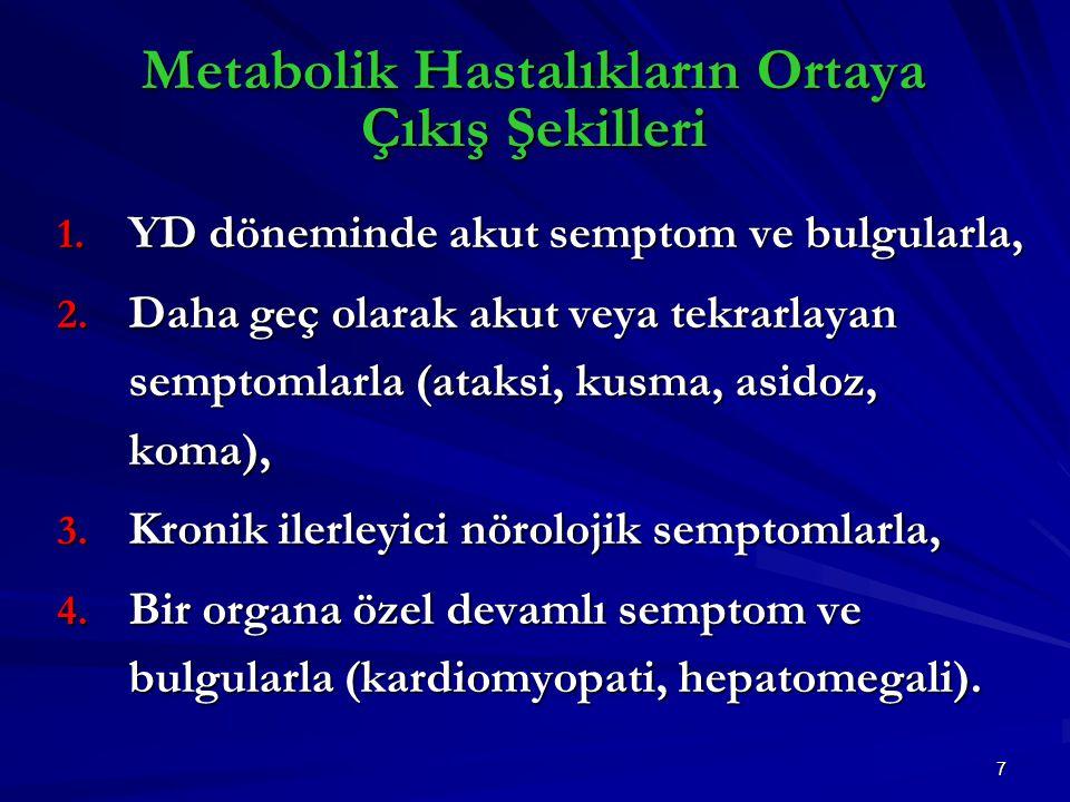 7 Metabolik Hastalıkların Ortaya Çıkış Şekilleri 1.