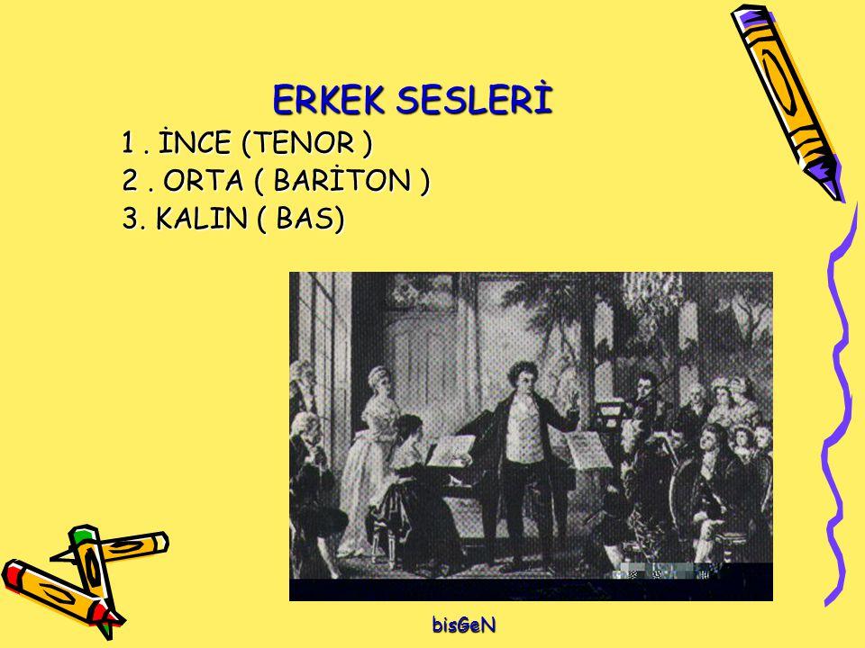 ERKEK SESLERİ 1. İNCE (TENOR ) 2. ORTA ( BARİTON ) 3. KALIN ( BAS) bisGeN