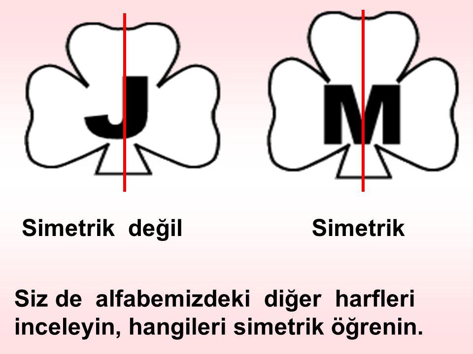 Simetrik değil Simetrik Siz de alfabemizdeki diğer harfleri inceleyin, hangileri simetrik öğrenin.