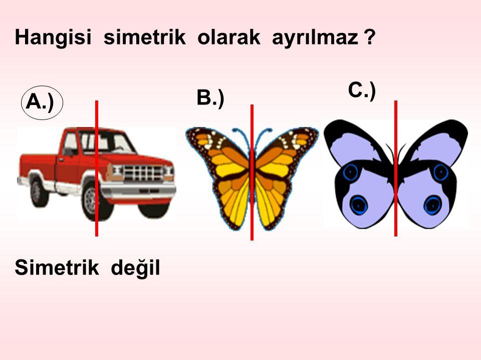 Hangisi simetrik olarak ayrılmaz ? A.) B.) C.) Simetrik değil