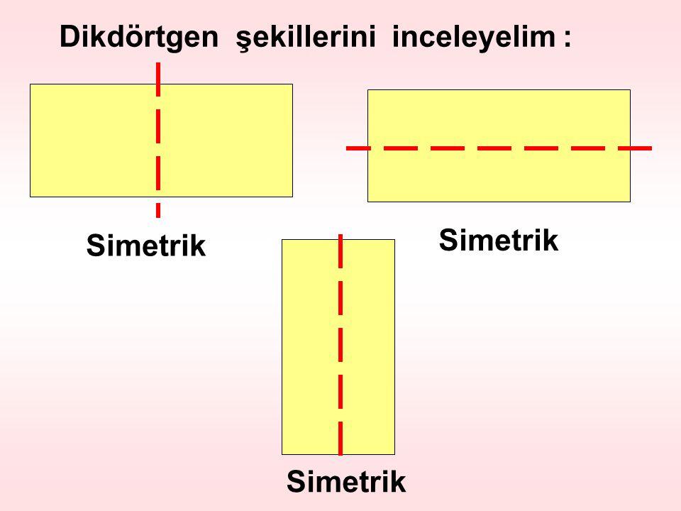 Dikdörtgen şekillerini inceleyelim : Simetrik