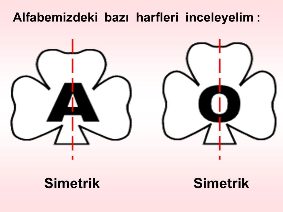 Alfabemizdeki bazı harfleri inceleyelim : Simetrik
