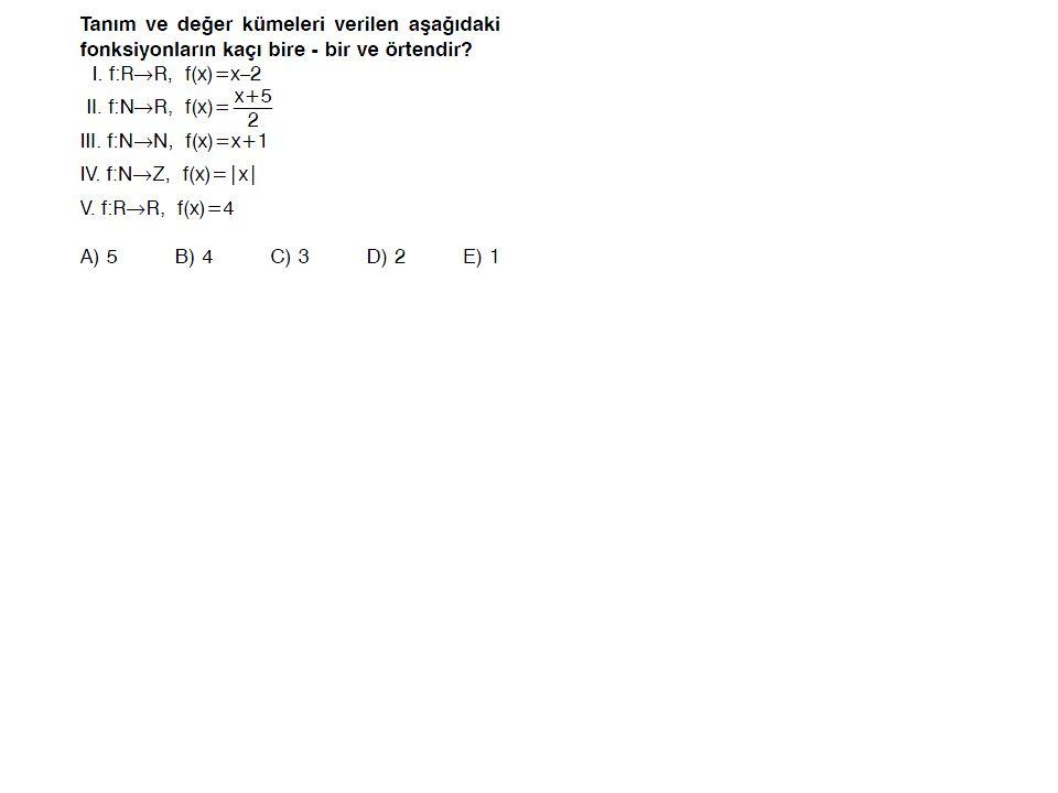 Ters Fonksiyonunun Bulunması : y = f(x)  x = f -1 (y) olduğundan f -1 i bulmak için x,y cinsinden bulunur ve x ile y nin yerleri değiştirilir.