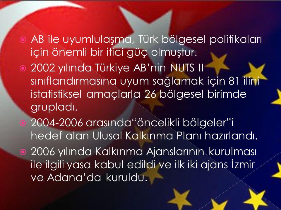  AB ile uyumlulaşma, Türk bölgesel politikaları için önemli bir itici güç olmuştur.  2002 yılında Türkiye AB'nin NUTS II sınıflandırmasına uyum sağl