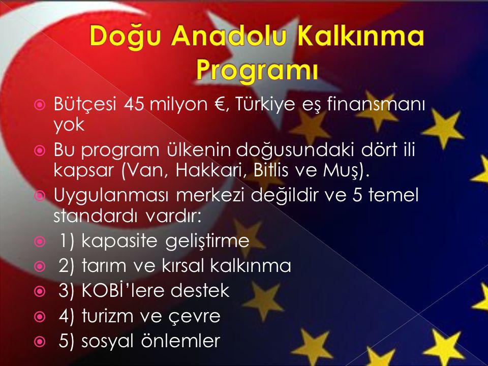  Bütçesi 45 milyon €, Türkiye eş finansmanı yok  Bu program ülkenin doğusundaki dört ili kapsar (Van, Hakkari, Bitlis ve Muş).  Uygulanması merkezi