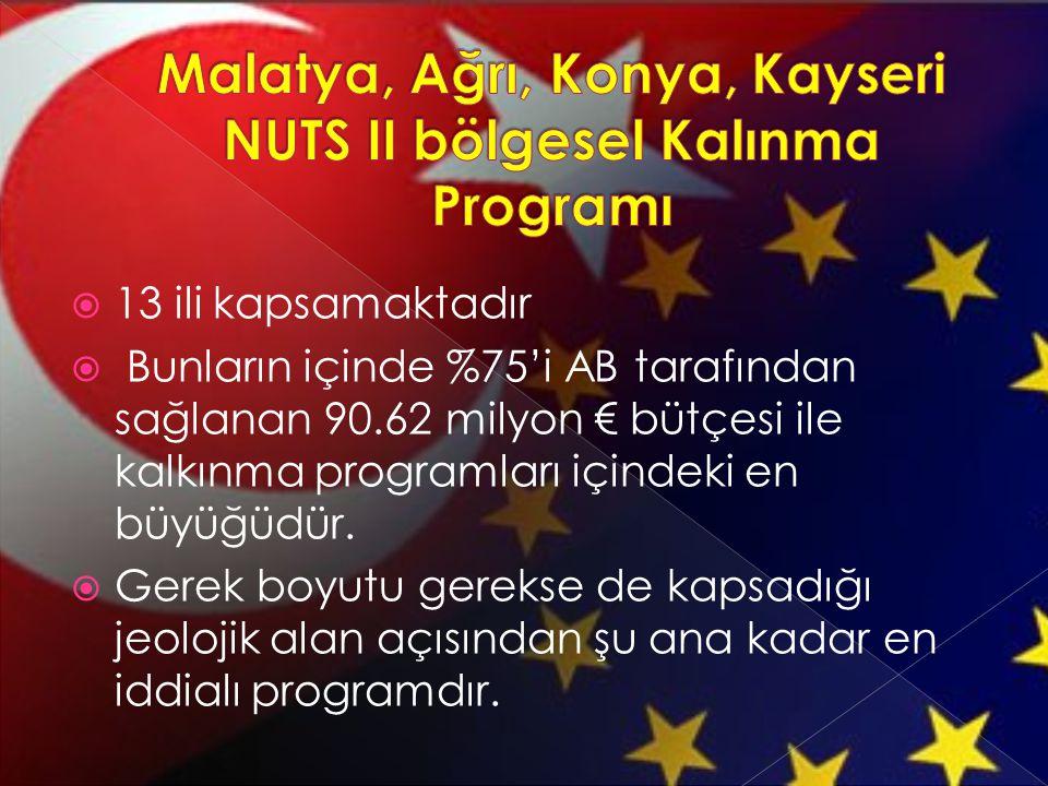  13 ili kapsamaktadır  Bunların içinde %75'i AB tarafından sağlanan 90.62 milyon € bütçesi ile kalkınma programları içindeki en büyüğüdür.  Gerek b