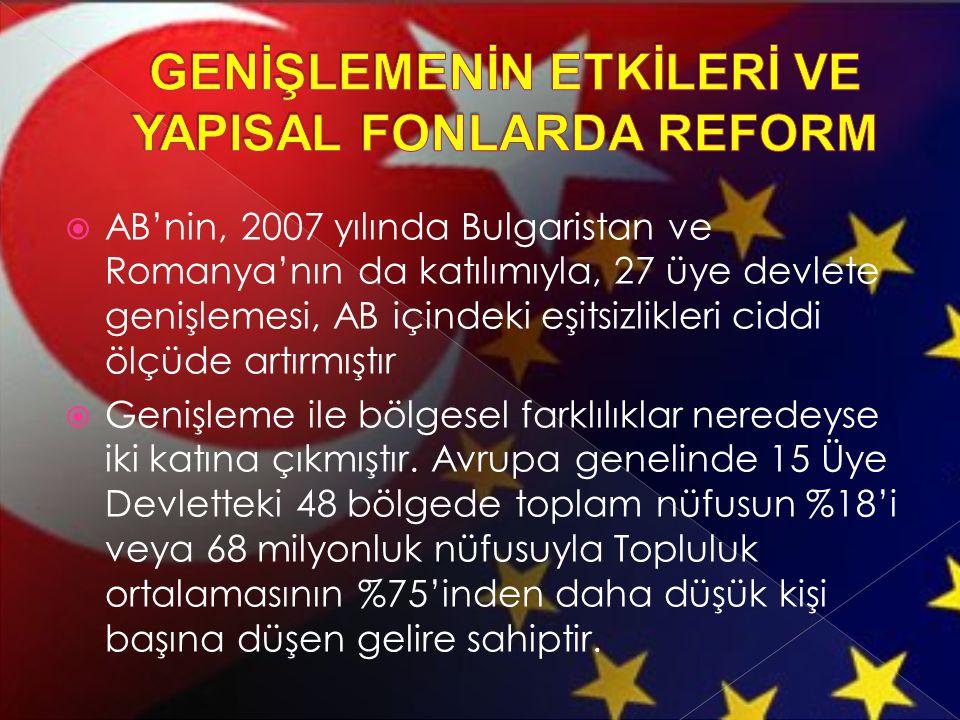  AB'nin, 2007 yılında Bulgaristan ve Romanya'nın da katılımıyla, 27 üye devlete genişlemesi, AB içindeki eşitsizlikleri ciddi ölçüde artırmıştır  Ge