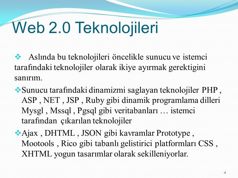 Web 2.0 Teknolojileri  Aslında bu teknolojileri öncelikle sunucu ve istemci tarafındaki teknolojiler olarak ikiye ayırmak gerektigini sanırım.
