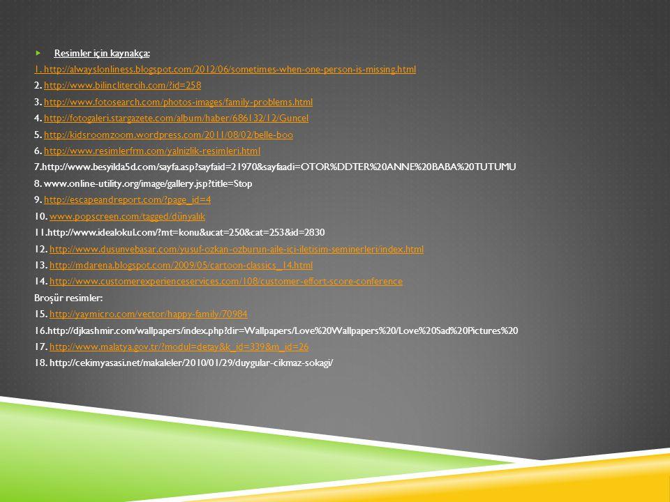 Resimler için kaynakça: 1. http://alwayslonliness.blogspot.com/2012/06/sometimes-when-one-person-is-missing.html 2. http://www.bilinclitercih.com/?i