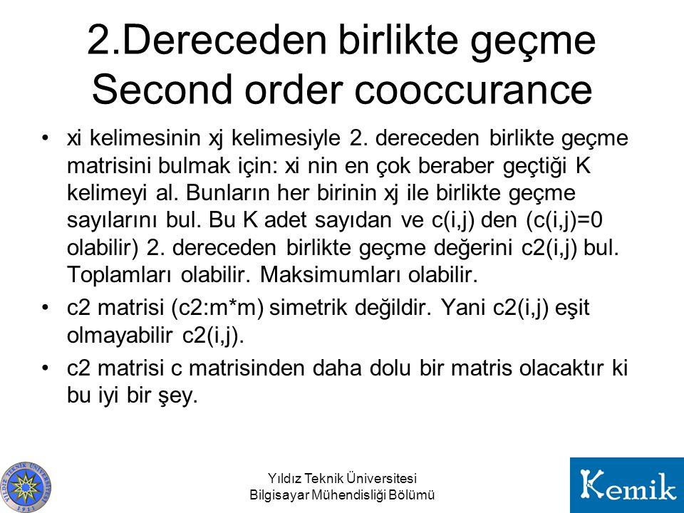 2.Dereceden birlikte geçme Second order cooccurance xi kelimesinin xj kelimesiyle 2. dereceden birlikte geçme matrisini bulmak için: xi nin en çok ber
