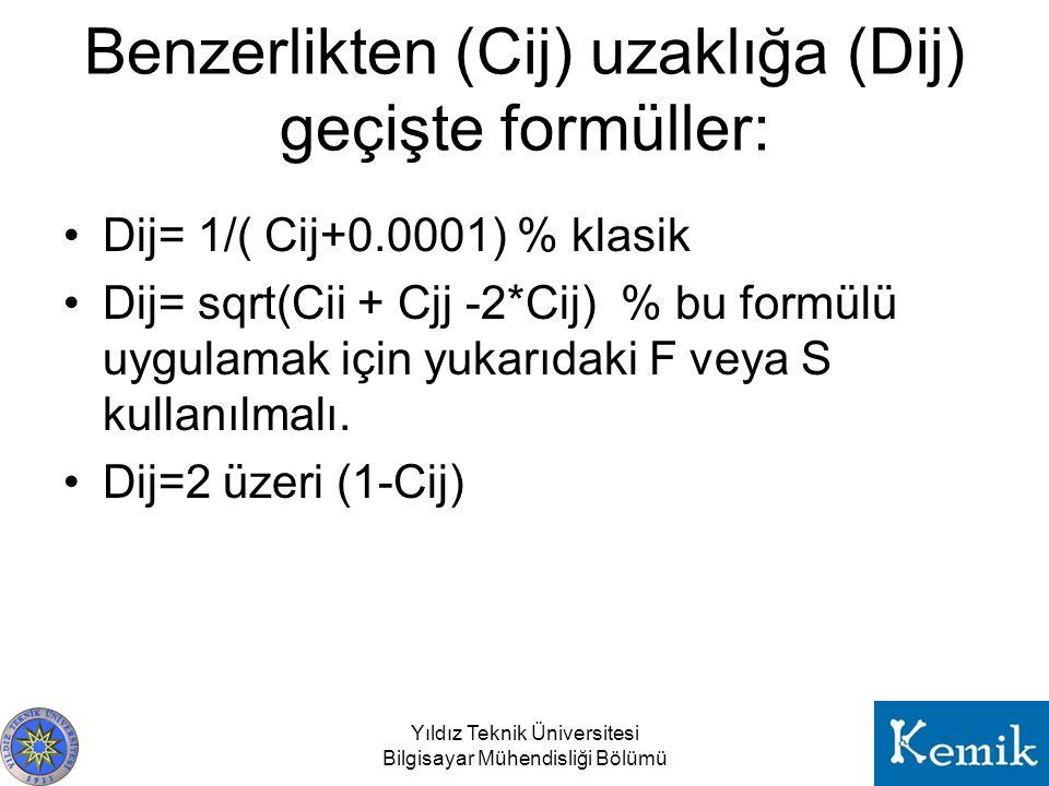 Benzerlikten (Cij) uzaklığa (Dij) geçişte formüller: Dij= 1/( Cij+0.0001) % klasik Dij= sqrt(Cii + Cjj -2*Cij) % bu formülü uygulamak için yukarıdaki