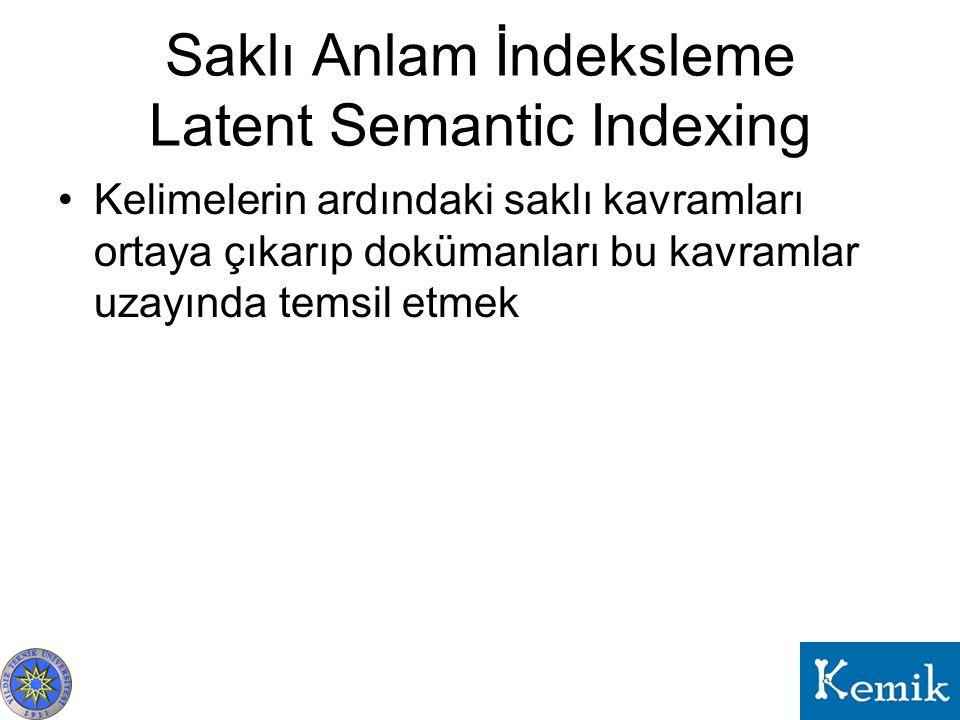 Saklı Anlam İndeksleme Latent Semantic Indexing Kelimelerin ardındaki saklı kavramları ortaya çıkarıp dokümanları bu kavramlar uzayında temsil etmek