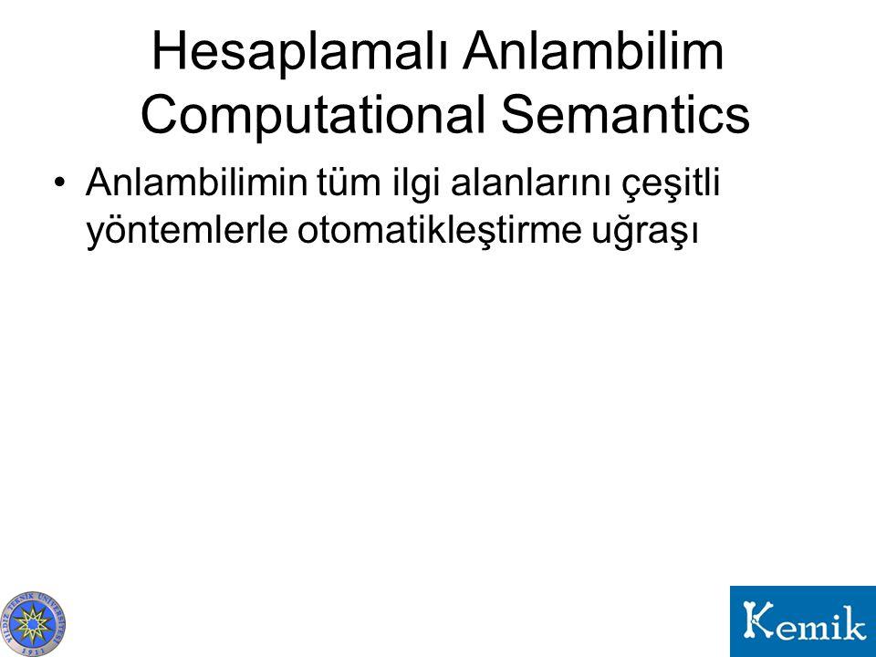 Hesaplamalı Anlambilim Computational Semantics Anlambilimin tüm ilgi alanlarını çeşitli yöntemlerle otomatikleştirme uğraşı