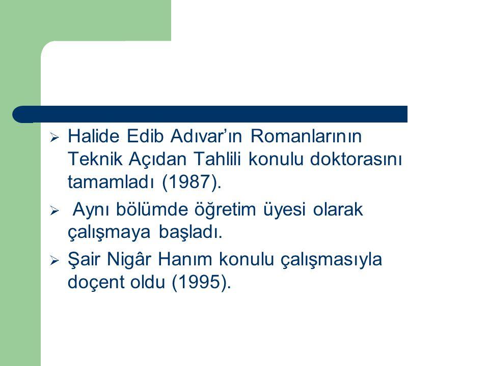  Halide Edib Adıvar'ın Romanlarının Teknik Açıdan Tahlili konulu doktorasını tamamladı (1987).  Aynı bölümde öğretim üyesi olarak çalışmaya başladı.