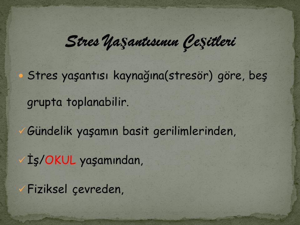 Stres Ya ş antısının Çe ş itleri Stres yaşantısı kaynağına(stresör) göre, beş grupta toplanabilir. Gündelik yaşamın basit gerilimlerinden, İş/OKUL yaş
