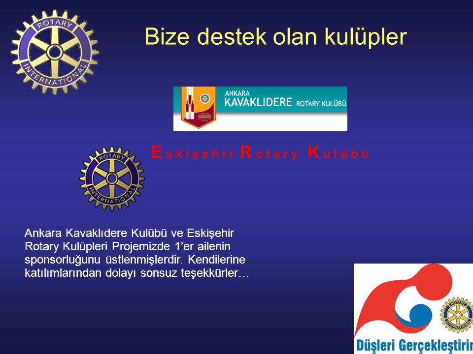 Bize destek olan kulüpler E s k i ş e h i r R o t a r y K u l ü b ü Ankara Kavaklıdere Kulübü ve Eskişehir Rotary Kulüpleri Projemizde 1'er ailenin sponsorluğunu üstlenmişlerdir.