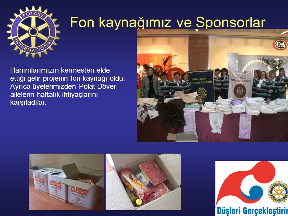 Fon kaynağımız ve Sponsorlar Hanımlarımızın kermesten elde ettiği gelir projenin fon kaynağı oldu.