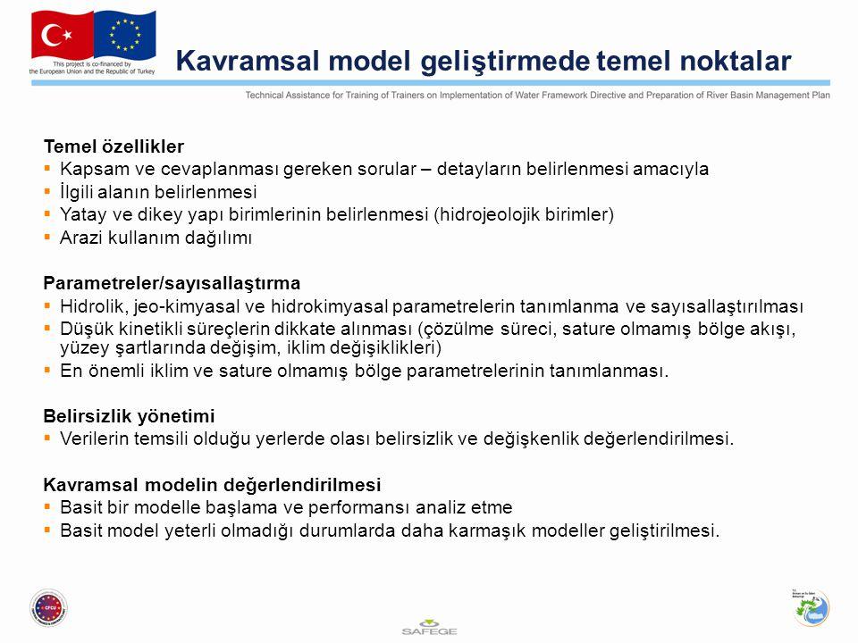 Kavramsal model geliştirmede temel noktalar Temel özellikler  Kapsam ve cevaplanması gereken sorular – detayların belirlenmesi amacıyla  İlgili alanın belirlenmesi  Yatay ve dikey yapı birimlerinin belirlenmesi (hidrojeolojik birimler)  Arazi kullanım dağılımı Parametreler/sayısallaştırma  Hidrolik, jeo-kimyasal ve hidrokimyasal parametrelerin tanımlanma ve sayısallaştırılması  Düşük kinetikli süreçlerin dikkate alınması (çözülme süreci, sature olmamış bölge akışı, yüzey şartlarında değişim, iklim değişiklikleri)  En önemli iklim ve sature olmamış bölge parametrelerinin tanımlanması.